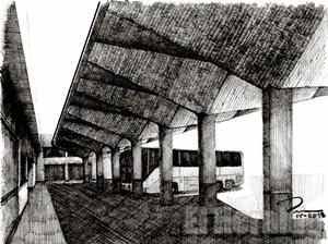 101. Cubiertas en los andenes de la Central Camionera de Aguascalientes
